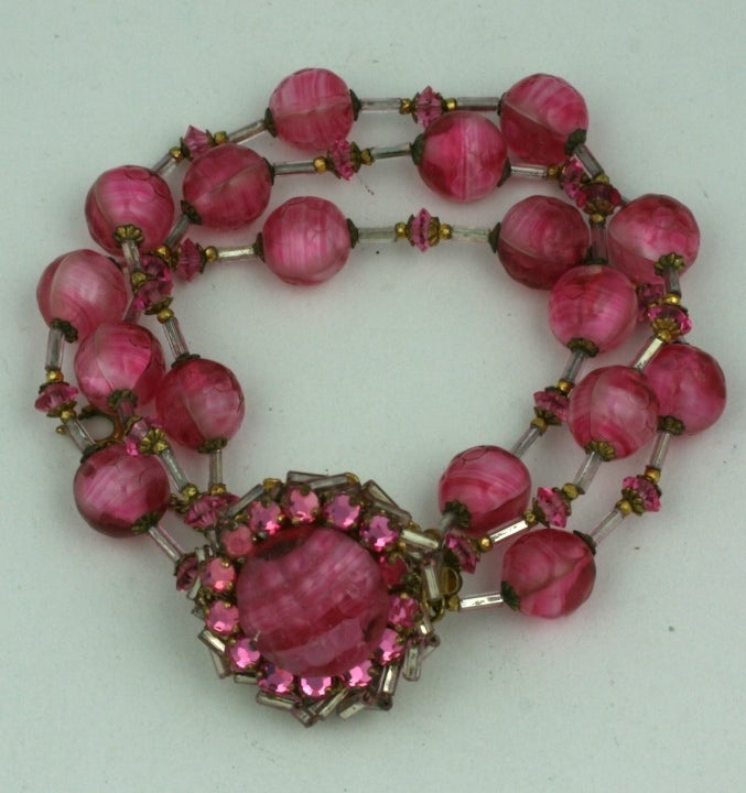 Wonderful Miriam Haskell Pink Venetian Glass  Suite 5