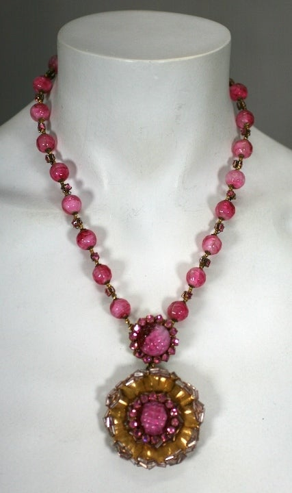 Wonderful Miriam Haskell Pink Venetian Glass  Suite 8