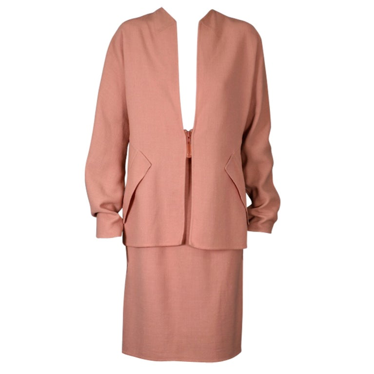 Geoffrey Beene Dusty Apricot Lurex Stretch Crepe Suit