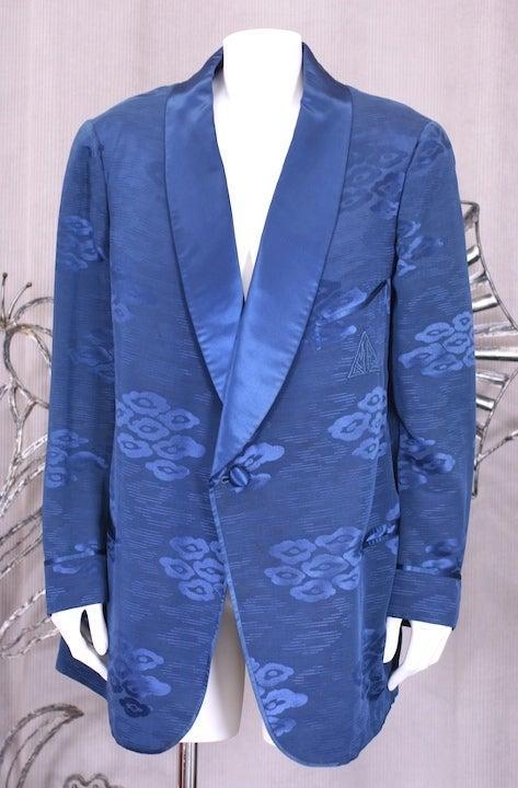 Blue Men's Smoking Jacket