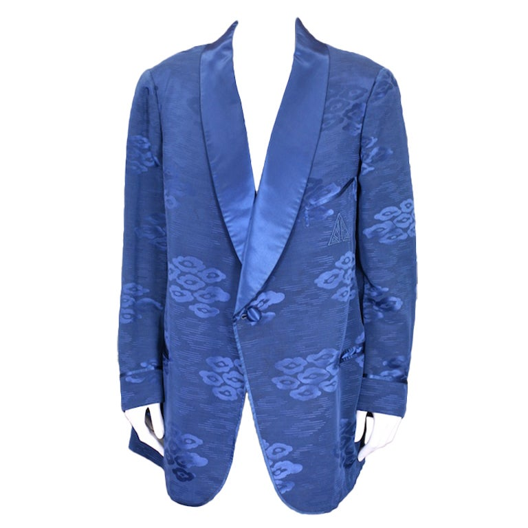 Mens Sulka Silk Jacquard Smoking Jacket