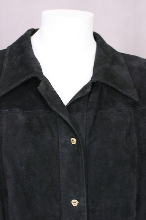Gianni Versace Black Suede Shirtdress 3