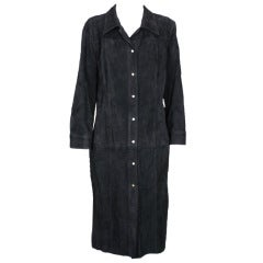 Gianni Versace Black Suede Shirtdress