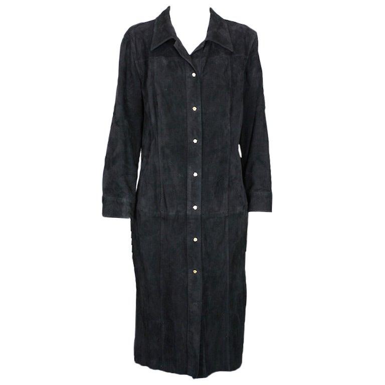 Gianni Versace Black Suede Shirtdress