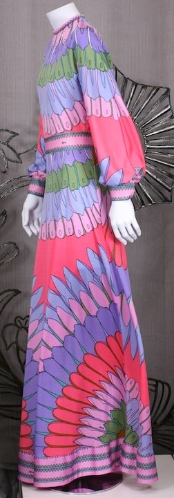Purple Artemis Flower Petal Print Maxi Dress For Sale