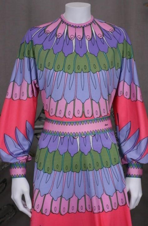 Artemis Flower Petal Print Maxi Dress For Sale 1