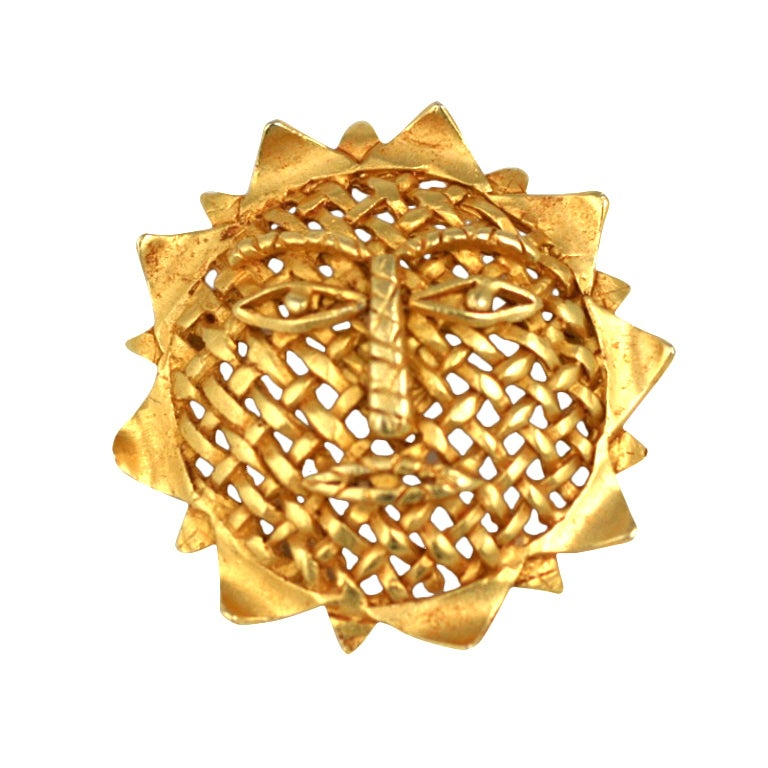 Hermes Apollo Sun King Clip Brooch For Sale At 1stdibs