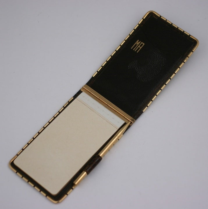 Mark Cross 1940's 14K Alligator Pad and Pencil In Excellent Condition For Sale In Riverdale, NY