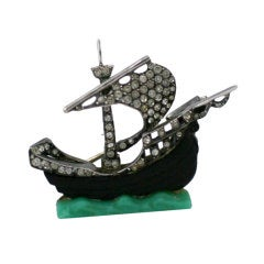 French Paste Sterling and Bakelite Galleon Brooch