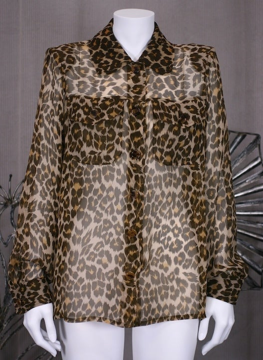 Yves Saint Laurent Silk Chiffon Leopard Blouse image 2