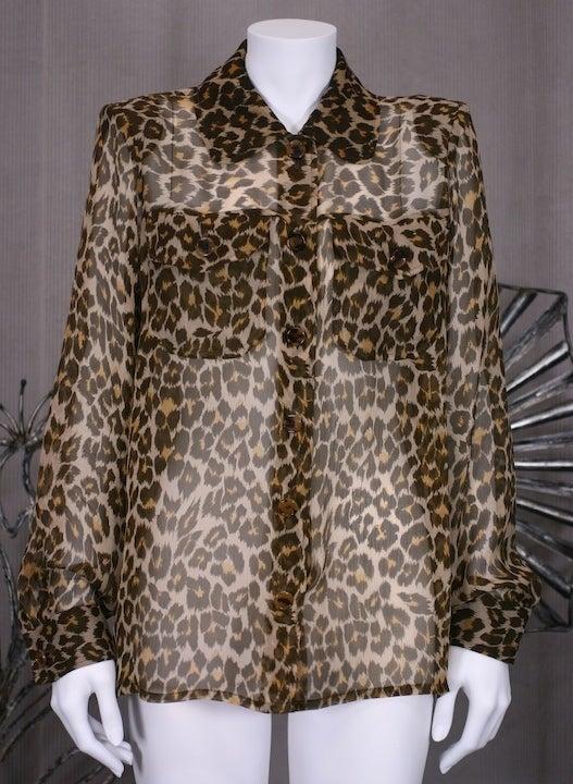 Yves Saint Laurent Silk Chiffon Leopard Blouse 2