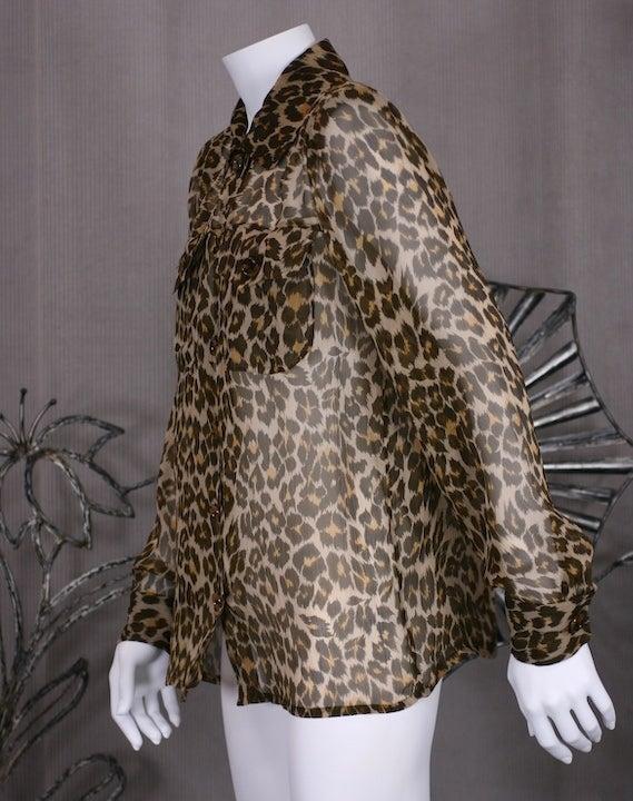 Yves Saint Laurent Silk Chiffon Leopard Blouse 3