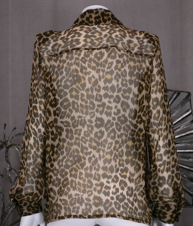 Yves Saint Laurent Silk Chiffon Leopard Blouse 4