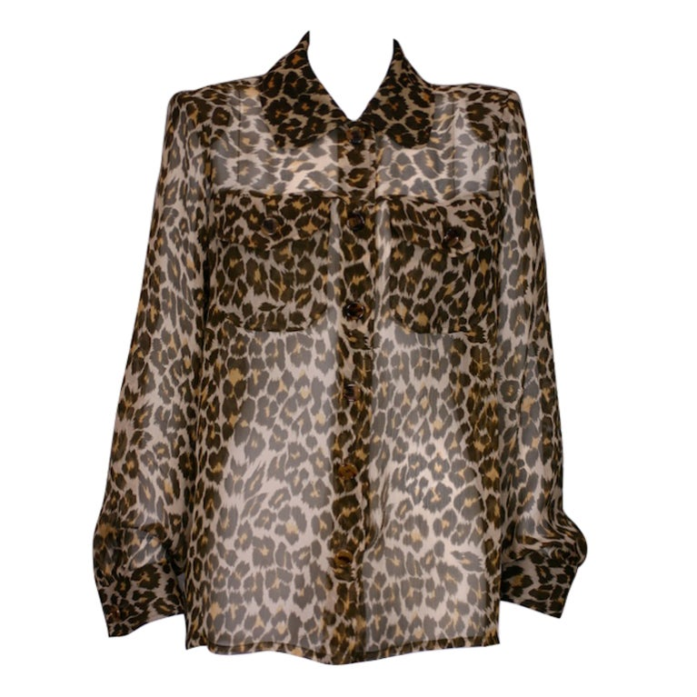 Yves Saint Laurent Silk Chiffon Leopard Blouse