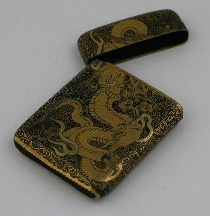 Brown Komai Japanese Dragon Motif  Matchsafe For Sale