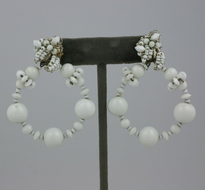 Miriam Haskell Summer white Hoop Earrings 2