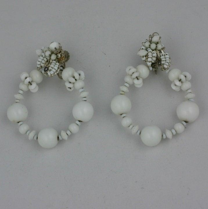 Miriam Haskell Summer white Hoop Earrings 3