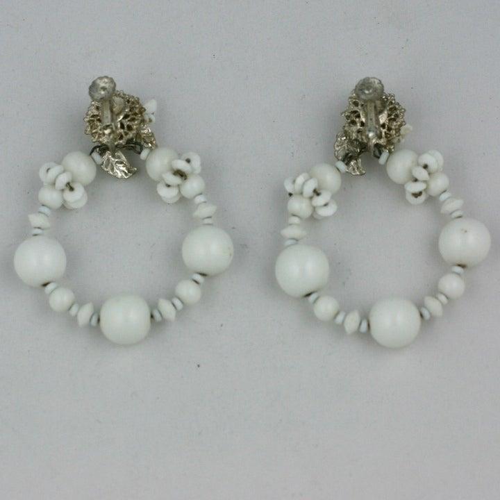Miriam Haskell Summer white Hoop Earrings 4