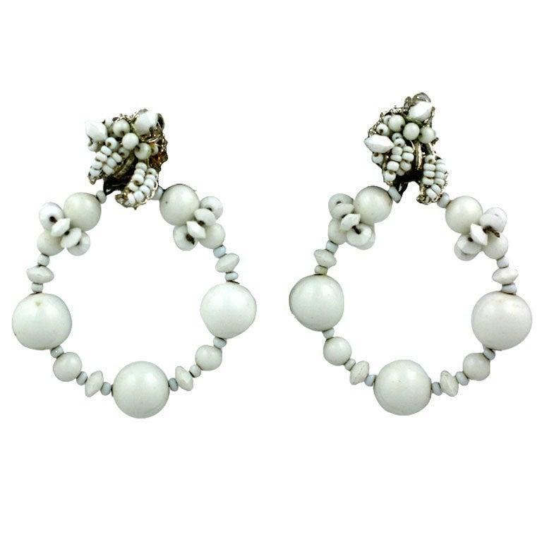 Miriam Haskell Summer white Hoop Earrings 1