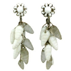 Miriam Haskell Glass Sea Shell Earrings