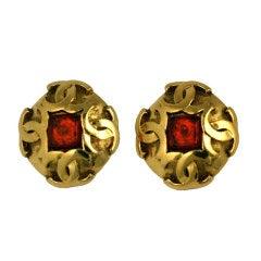 Chanel Citrine Poured Glass Logo Earrings
