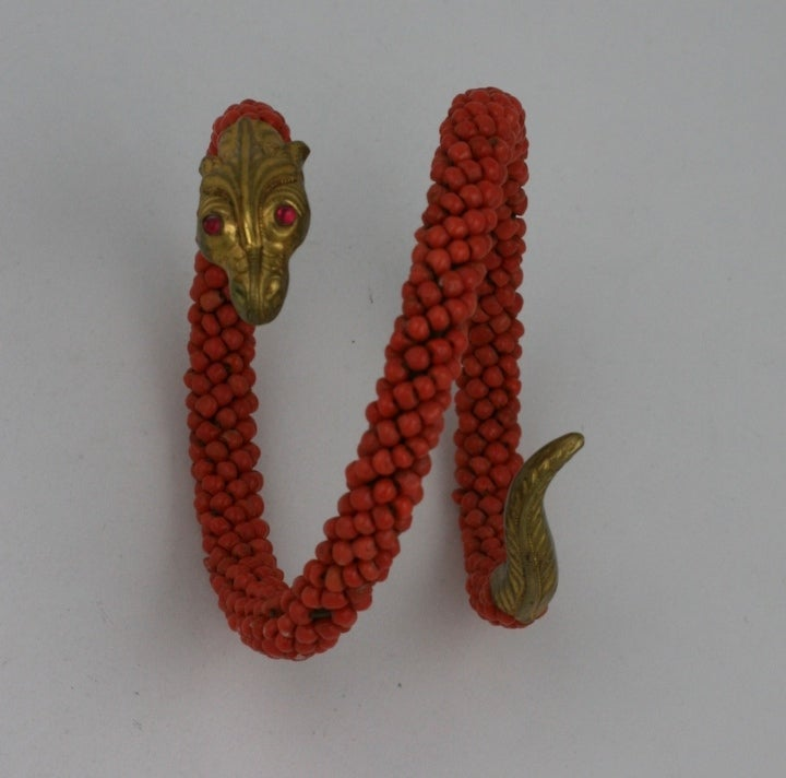 Wonderful Victorian Coral Coiled Snake Bracelet For Sale