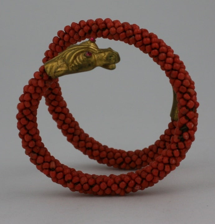 Women's Wonderful Victorian Coral Coiled Snake Bracelet For Sale