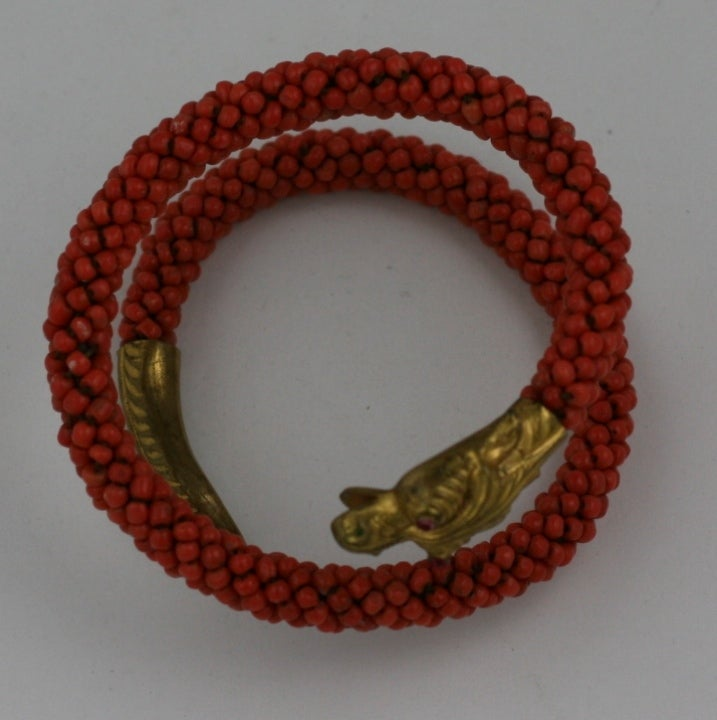 Wonderful Victorian Coral Coiled Snake Bracelet For Sale 1