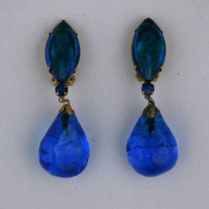 Aqua Poured Glass Earrings image 2