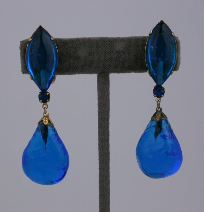 Aqua Poured Glass Earrings image 3