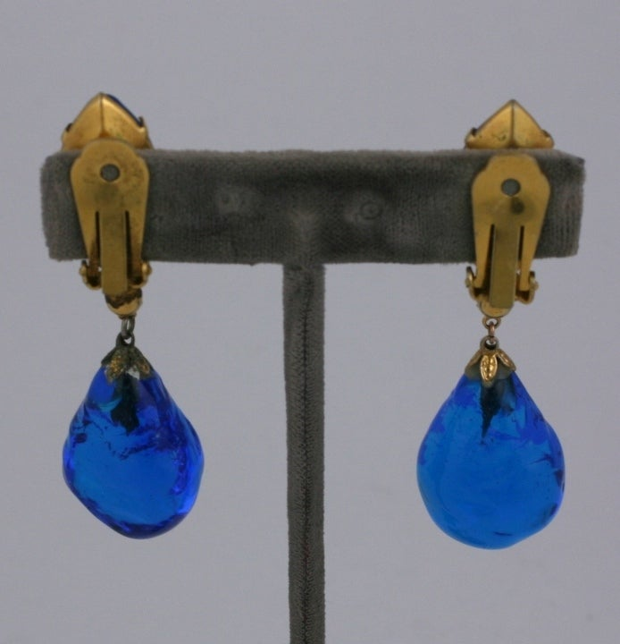 Aqua Poured Glass Earrings image 5