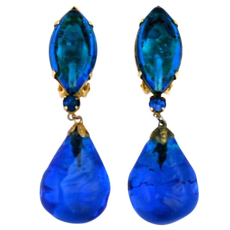 Aqua Poured Glass Earrings