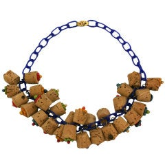 Art Deco Bakelite Cork and Wood Necklace