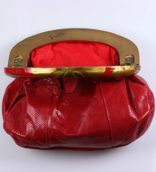 Zushi Handpainted Red Snake Clutch For Sale 1