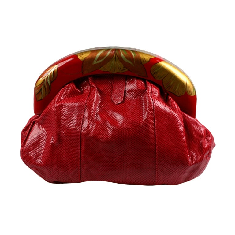 Zushi Handpainted Red Snake Clutch For Sale