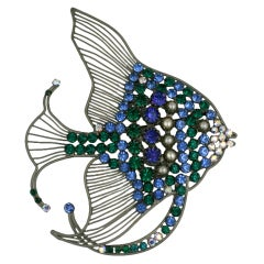 Rare Monumental Countess Cis Angel Fish Brooch