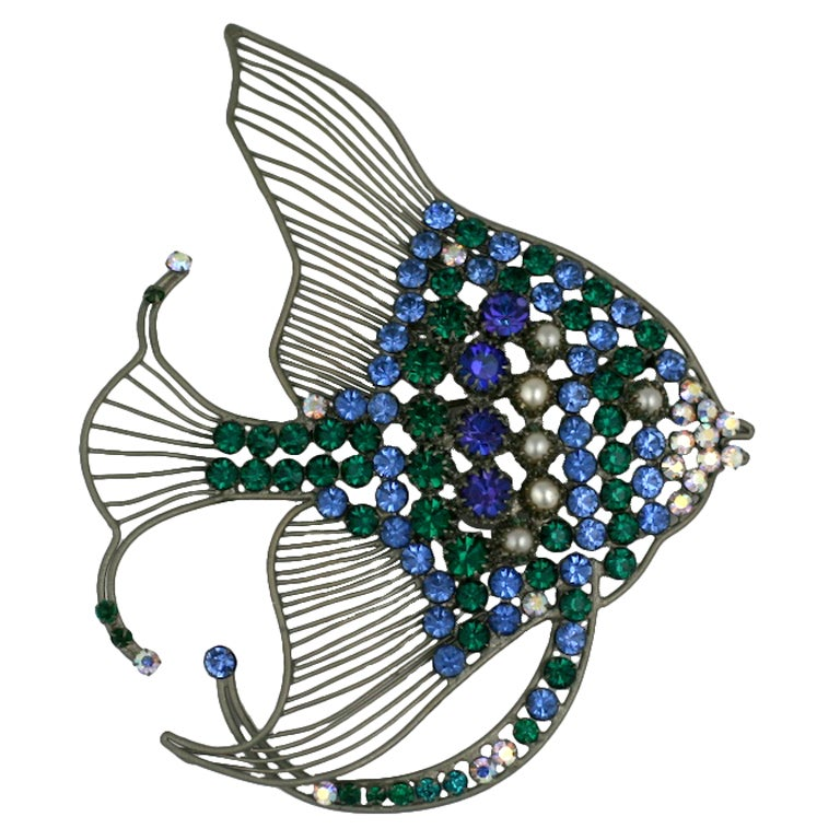 Rare Monumental Countess Cis Angel Fish Brooch 1