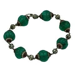 Art Deco Fluted Emerald and Paste Bracelet