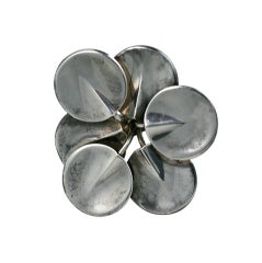 Modernist Sterling Lily Pad Ring