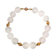 Frosted Rock Crystal and Gold Beads