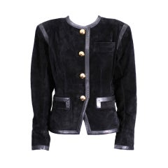 Yves Saint Laurent Black Suede and Calf Jacket