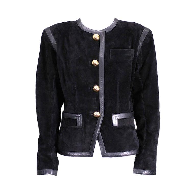 Yves Saint Laurent Black Suede and Calf Jacket