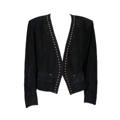YSL Gold Studded Black Suede Jacket