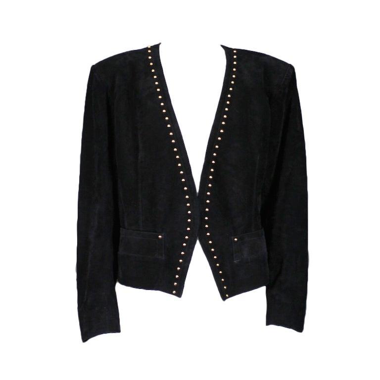 YSL Gold Studded Black Suede Jacket