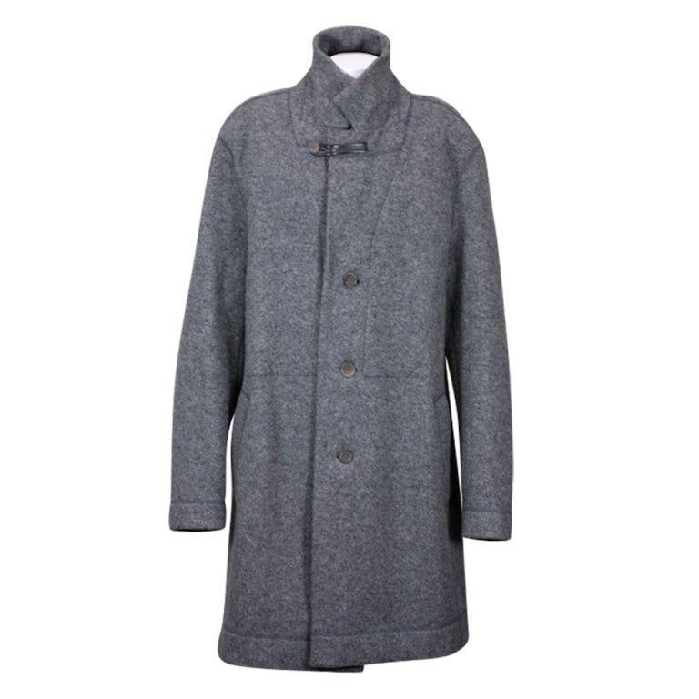Issey Miyake Mens Felted Wool Charcoal Wool Coat For Sale at 1stdibs