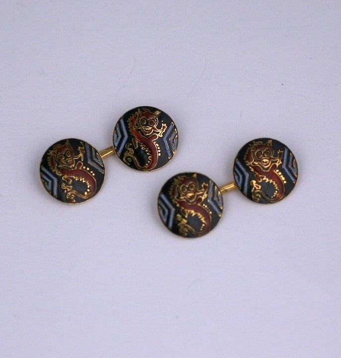 French Art Deco Dragon Cufflinks 3