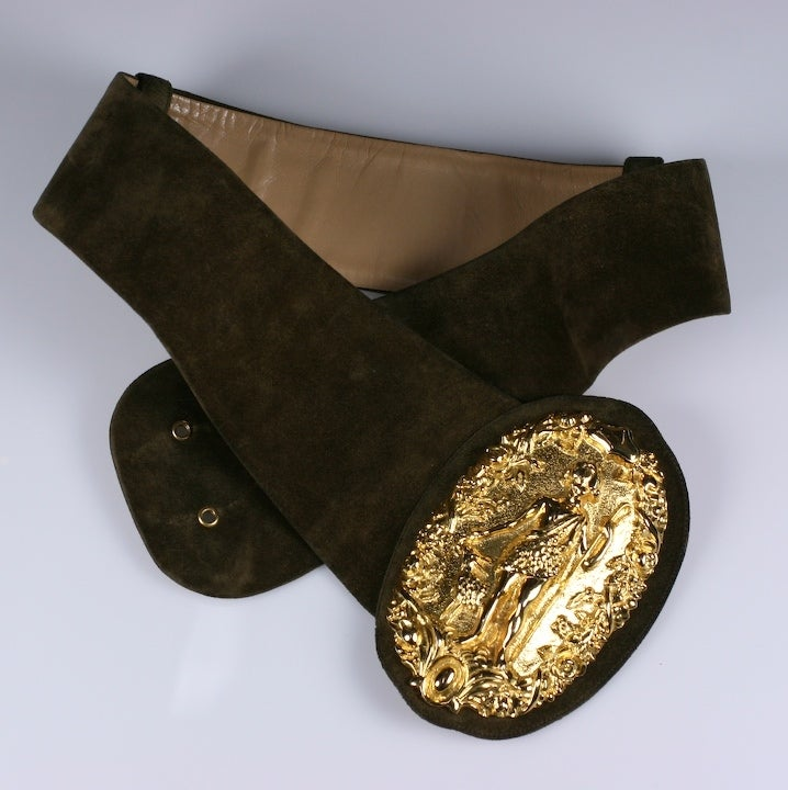Women's Diana Huntress Gilt Suede Belt For Sale