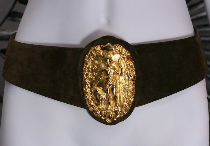 Diana Huntress Gilt Suede Belt For Sale 1