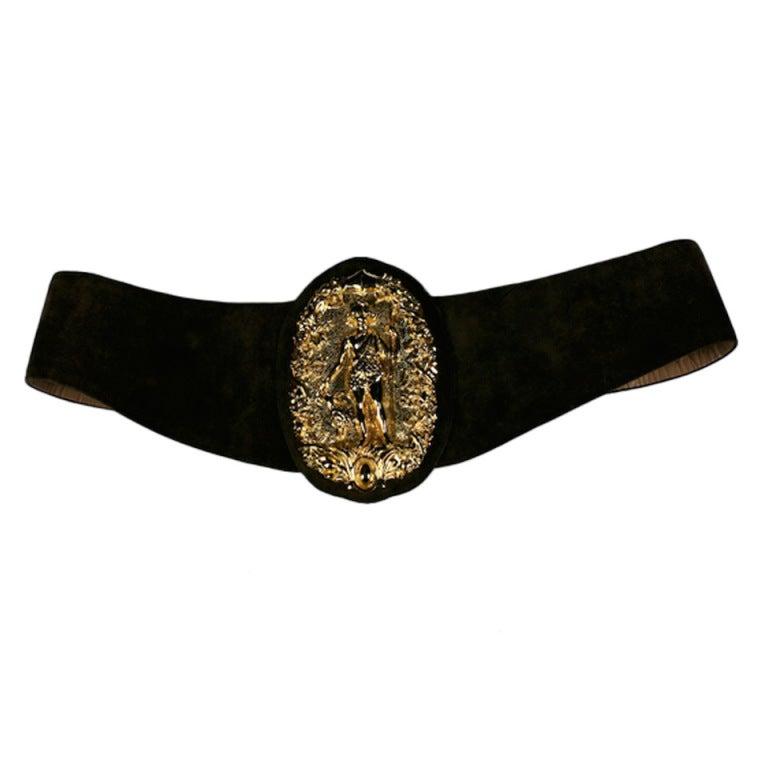 Diana Huntress Gilt Suede Belt For Sale