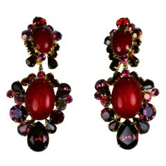 Kenneth Jay Lane Ruby Amythest Earrings